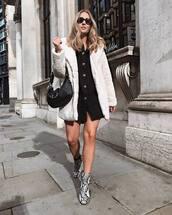 shoes,boots,snake print,shirt dress,faux fur coat,shoulder bag,sunglasses,mini dress