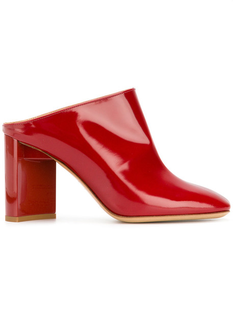 heel chunky heel women mules leather red shoes