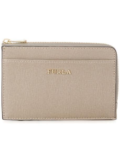 Furla - small zip purse - women - Calf Leather/Viscose - One Size, Grey, Calf Leather/Viscose