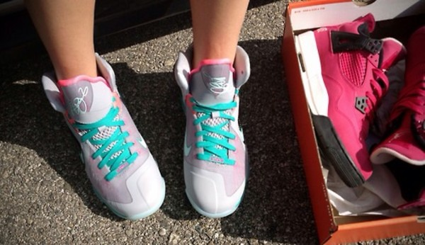 shoes lebrons south beach pink blue sneakers