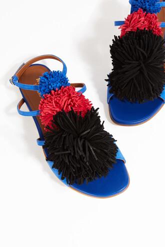 sandals flat sandals blue shoes