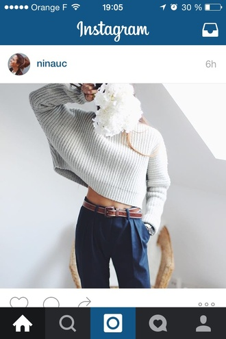sweater grey grey sweater winter outfits winter sweater blue pants girl fashion toast fashion vibe fashion is a playground fashion fashion coolture style
