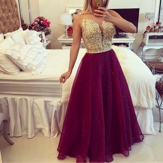 dress burgundy dress prom dress gold dress gown