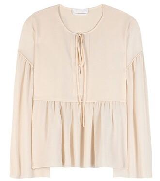 blouse cotton silk orange top