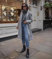 sweater,turtleneck,turtleneck sweater,coat,wool coat,long coat,ankle boots,black boots,jeans,cropped jeans,sunglasses