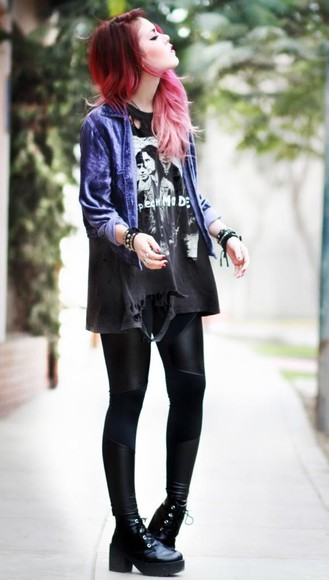 rock denim jacket grunge blouse blue