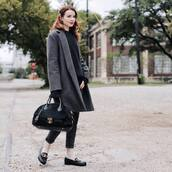 shoes,loafers,cropped jeans,black jeans,skinny jeans,coat,wool coat,handbag,sweater