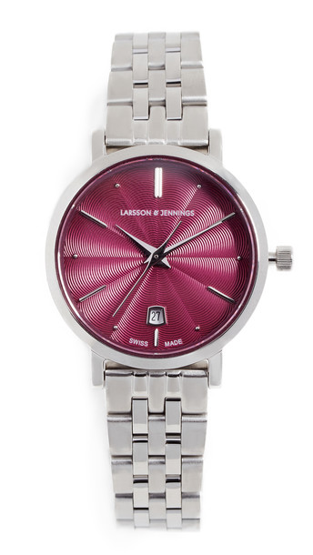 Larsson & Jennings Aurora Polished Guilloche Watch, 26mm in pink / silver