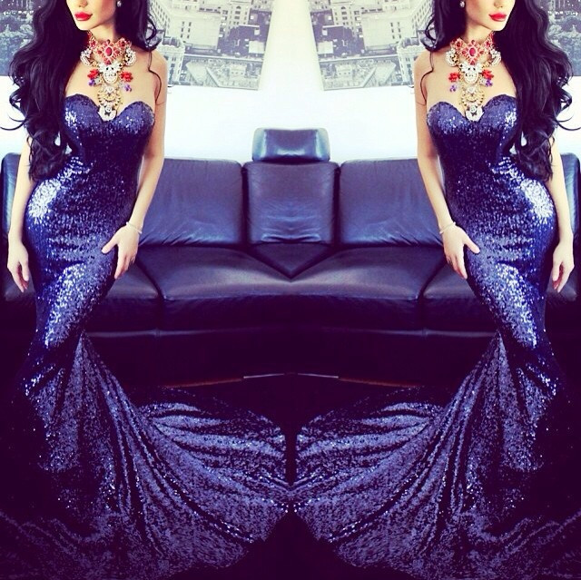 Aliexpress.com : Buy Glamorous Vestidos De Festa Mid night Blue Sequined Lace Long Mermaid Prom Dresses 2014 Sweetheart Fashionable Party Gown from Reliable gown wrap suppliers on Suzhou Babyonlinedress Co.,Ltd