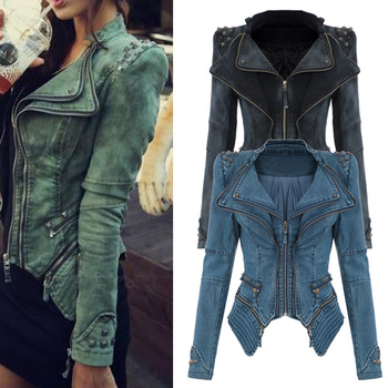 Free Shipping S XL fashion Star jeans women Punk spike studded shrug shoulder Denim cropped VINTAGE jacket coat WC0161-in Basic Jackets from Apparel & Accessories on Aliexpress.com