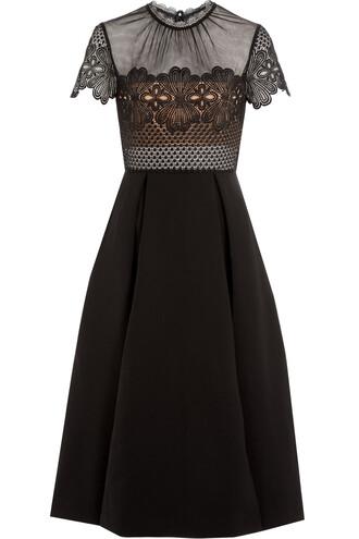 dress midi dress embroidered midi black