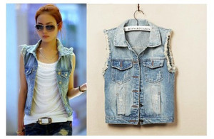 New Women's Ladies Frayed Personalized Cardigans Denim Jean Vest Coat 5 Sizes-in Vests & Waistcoats from Apparel & Accessories on Aliexpress.com