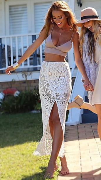 skirt lace white assymetrical skirts maxi skirt