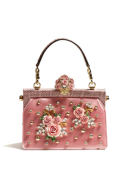Dolce & Gabbana rose embellished bag satin pink