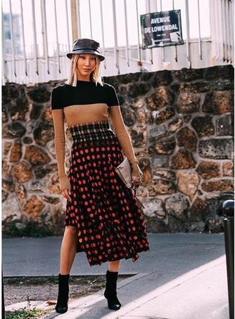 top skirt boots bag knitted top hat midi skirt polka dots asymmetrical asymmetrical skirt streetstyle