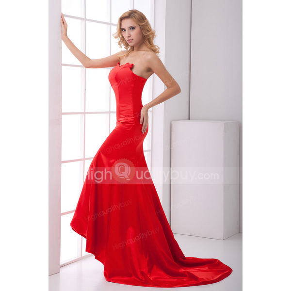 Stunning Red Elegant Mermaid Sweetheart Satin Chapel Train Evening Dress_$119.99