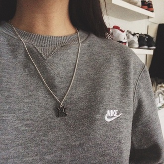 sweater grey sweater nike sweatshirt crewneck sweater