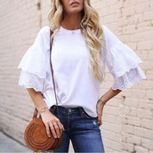 top,tumblr,white top,bell sleeves,bag,brown,brown bag