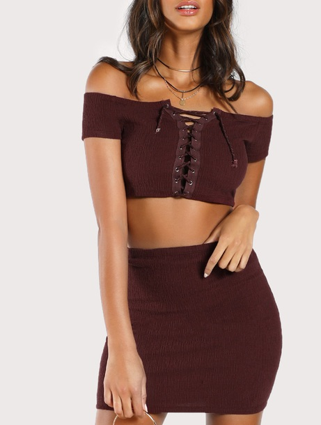 dress girly brown two-piece matching set two piece dress set crop tops crop cropped skirt off the shoulder off the shoulder top lace up