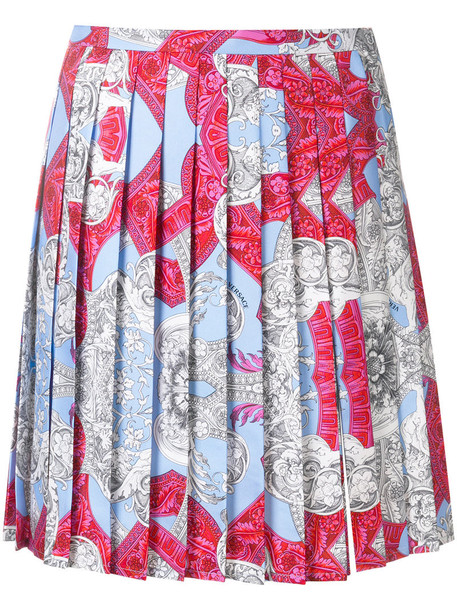 VERSACE skirt pleated skirt pleated women print silk