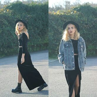 hat denim jacket jeans black dress two-piece grunge jean jacket grunge boots grunge soft grunge dress soft grunge dark grunge pale pale grunge jumpsuit