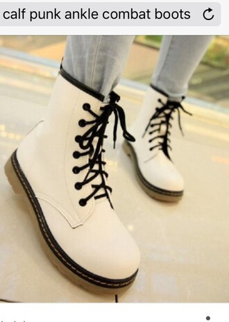 shoes combat boots flat boots white boots punk