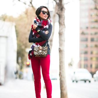 scarf bag sunglasses winter outfits blogger red skinny pants wendy's lookbook black heels leopard print mini bag scarf red