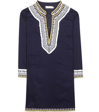 tunic embroidered cotton blue top