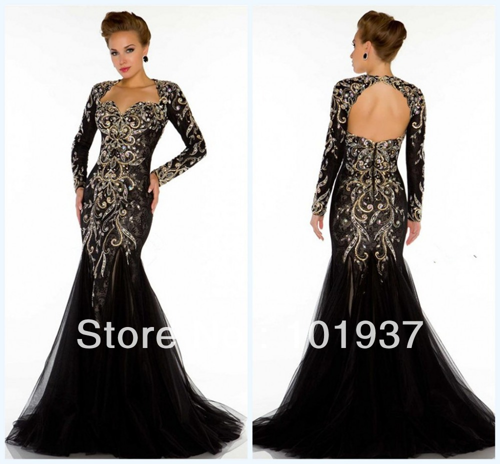 Sexy Black Long Sleeves Tulle Mermaid Evening Dress Open Back ...