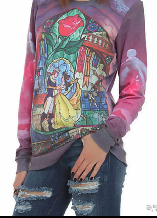 sweater beauty and the beast stained glass
