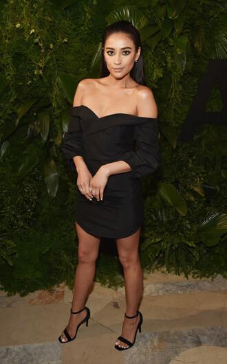 dress all black everything black black dress little black dress sandals off the shoulder off the shoulder dress mini dress shay mitchell