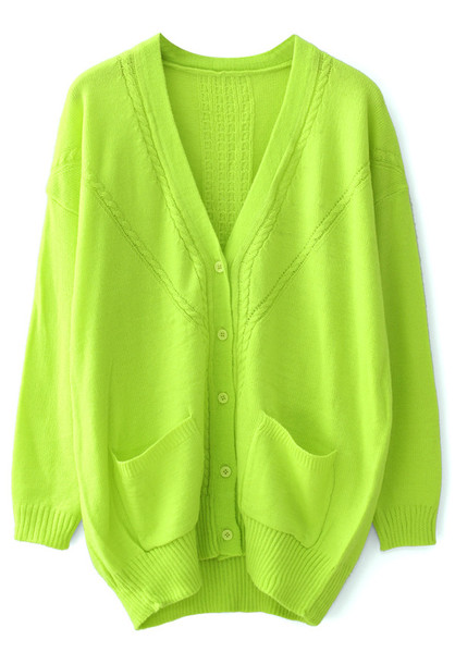 Sweater: neon green, green, dropped, oversized, cardigan - Wheretoget