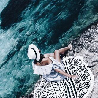 scarf round beach towel printed towel white hat cold shoulder beach towel hat sun hat dress blue swimwear off the shoulder dress summer dress summer outfits