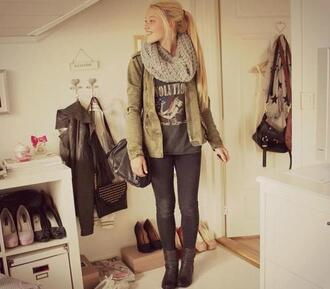 scarf coat shirt combat boots leggings bag jacket jeans shoes infinity scarf army green gray cute brown fluffy scarf green jacket t-shirt cardigan pants