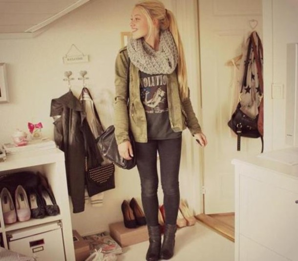 scarf coat shirt combat boots leggings bag jacket jeans shoes infinity scarf quote on it vintage army green gray cute brown fluffy scarf green jacket t-shirt cardigan pants