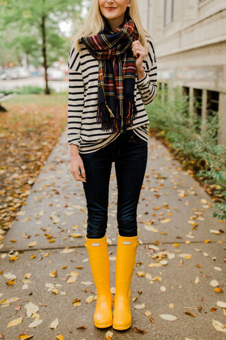 kelly in the city - a preppy chicago life style and fashion blog blogger skirt jacket shoes fall outfits scarf boots wellies yellow boots striped top