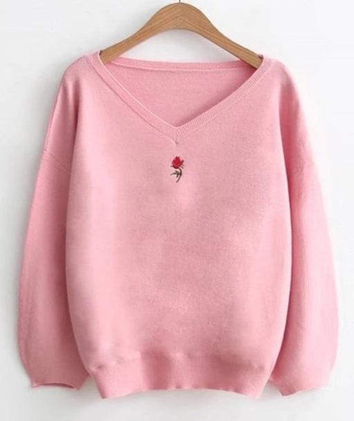 sweater embroidered girly pink sweatshirt jumper rose v neck