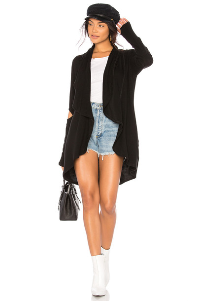 LnA cardigan cardigan slit draped black sweater