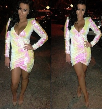 dress pink sequin dress yellow bodycon bodycon dress party dress going out dress white flourescent amrezy