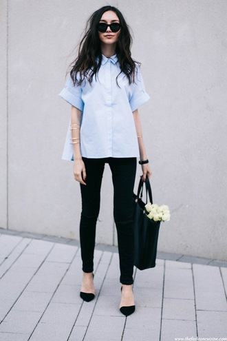 le fashion image blogger sunglasses top shirt jeans shoes blue collar button up cute pretty bag office outfits black slim jeans black bag black sunglasses street style looks pointed toe pumps black jeans