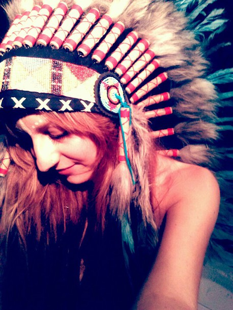 hat hippie bohemian ethno american native featherr hat feathers festival festival boho chic