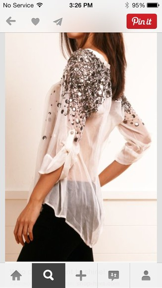 blouse white blouse blouses white tank top sheer sparkle sequins t-shirt