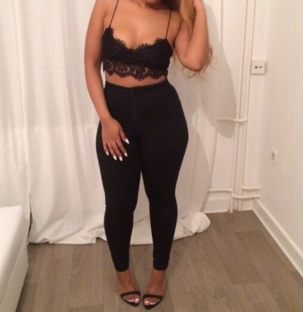 top black lace crop top pants high waisted black pants