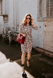 dress,floral dress,floral,midi dress,bodycon dress,pumps,high heels,bag,red bag,heels
