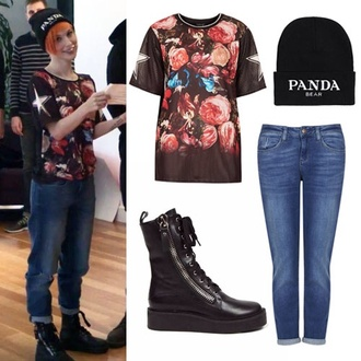 shirt hayley williams roses pink jeans blue black beanie boots shoes