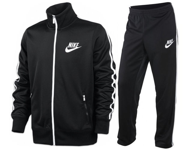 nike black and white track top
