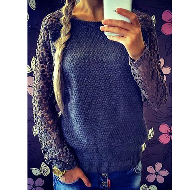 c87341964aa203 Aliexpress.com   Buy 2015 Women Sweater Long Sleeve Hollow Out Casual  Sweaters Patchwork Lace Pullover Knitted ...
