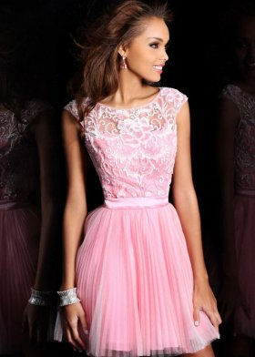 Cute bow open back pink short beaded applique prom dress [sh