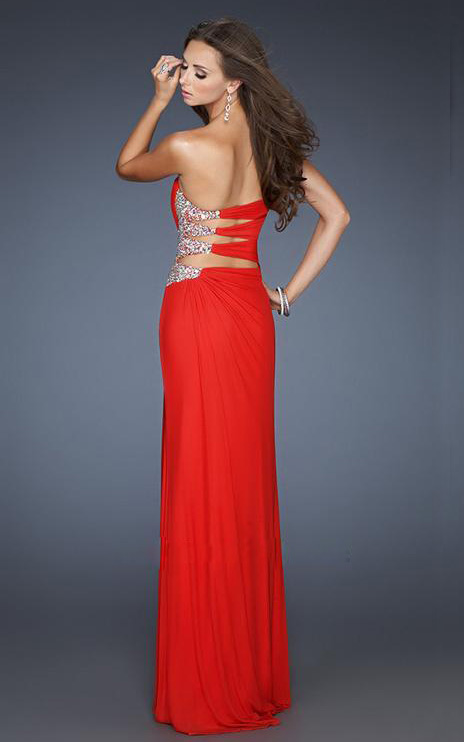 Long Red Strapless Prom Dresses - RP Dress