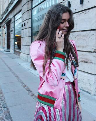 jacket tumblr pink jacket satin bomber bomber jacket pink bomber jacket t-shirt logo tee gucci skirt pleated metallic pleated skirt pleated skirt stripes striped skirt gucci t-shirt